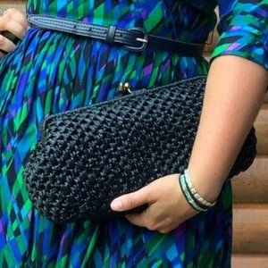 Vintage Black Raffia Rattan It's In The Bag Clutch
